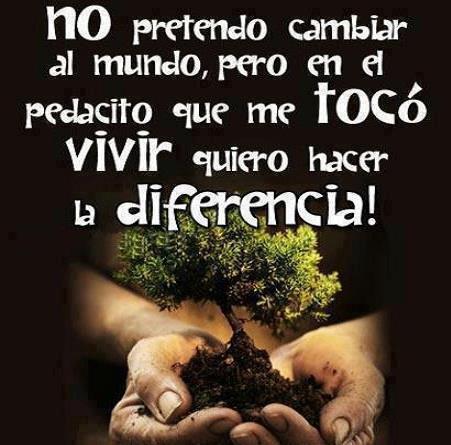 No pretendo cambiar el mundo pero en el pedacito que me toco vivir quiero hacer ña diferencia
