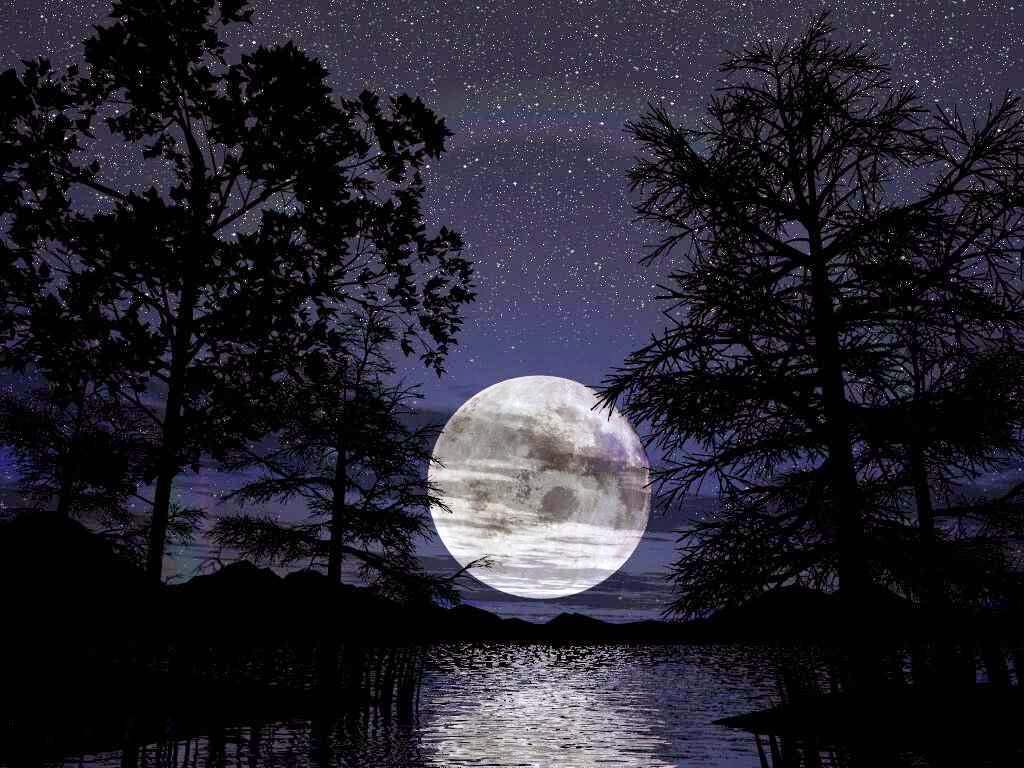 Poisajes de noche de luna llena