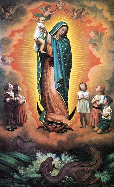Nuestra Señora de Guadalupe protegiendo a los niños